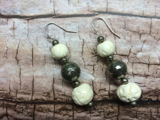 Tibetan carved bone beaded earrings with faceted round pyrite on sterling silver, gift for her, long dangle sparkly metallic modern classy