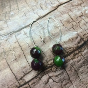 AAA Grade Ruby Zoisite sterling silver long earrings, watermelon green and ruby gemstones, green red pink colourful jewellery, summer color