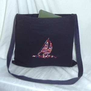 Back to School Cross Body ~ Messenger Book Bag Embroidery (Both Sides) in Red, White & Blue