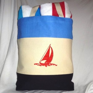 Back to School Nautical Themed Tote Bag~ Beach Bag Red, White & Blue with Sailboat Embroidery (Both Sides)