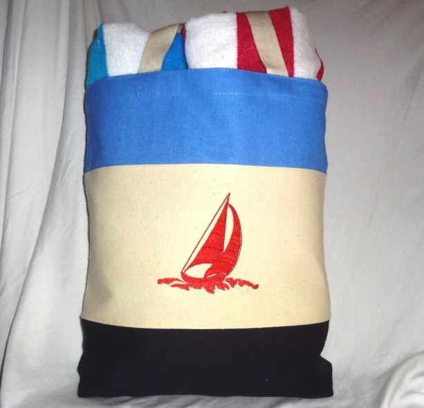 Back to School Nautical Themed Tote Bag~ Beach Bag Red, White & B ...