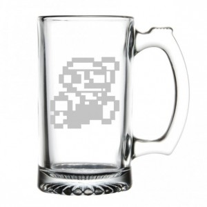Super Mario Bros - 8bit Mario - Etched Beer Mug