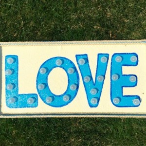 Love Marquee Sign (Blue) Handcrafted Original