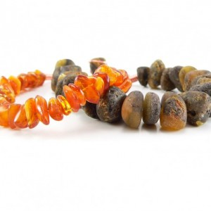 Chunky Double Strand Baltic Amber (Nugget, Polished) and Copper Adjustable Bracelet - 7 inches to 8 inches - Natural, Pain Relief, Earthy