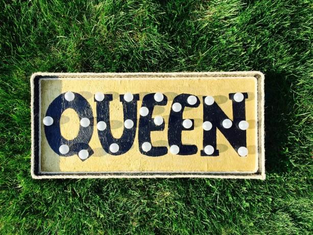 """Golden """"Queen"""" Marquee Sign (Handcrafted Original)"""