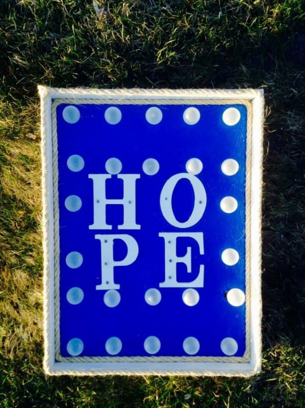 "Lighted ""Hope"" Marquee(Blue) Sign/Wall Decor (Handcrafted Original)"