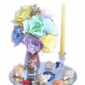 Beach decor, Beach wedding centerpiece, Reception decor, Fake Flower decor, Beach theme decor, Beach Silk Flower decor, Beach Home decor