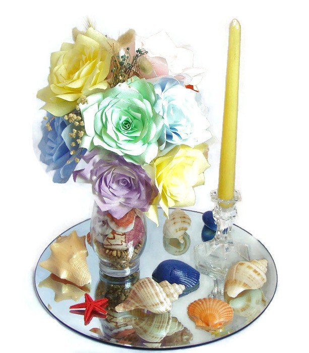 Beach Wedding Centerpiece Reception Decor Fake Flower Theme