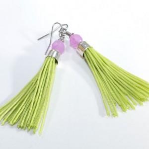 Tassel Earrings // Bright Green // Short // Purple Glass Beads // Statement Earrings