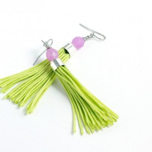 Tassel Earrings // Bright Green // Short // Purple Glass Beads // Statement Earrings