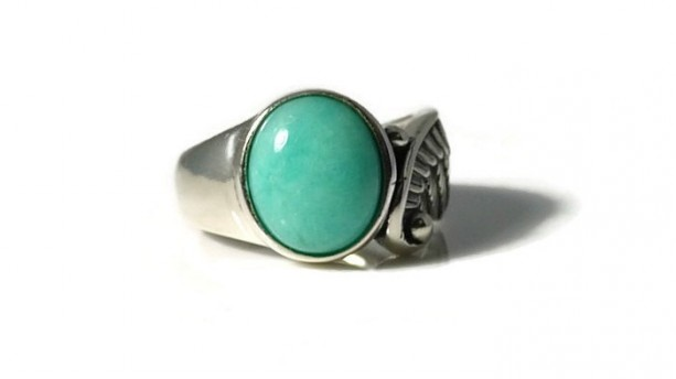 Amazonite Ring, Angel Wing Ring, Sterling Silver, Healing Ring, Gemstone Ring, Cocktail Ring, Statement Ring, Bezel Ring
