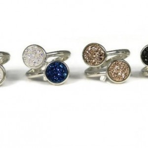 Druzy Ring, Stackable Ring, Gemstone Ring, Multistone Ring, Healing Ring, Promise Ring, Statement Ring, Cocktail Ring, Adjustable Ring