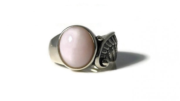 Pink Opal, Opal Ring, Angel Wings, Healing Ring, Gemstone Ring, Birthstone Ring,Cocktail Ring, Statement Ring, Solitaire Ring, Bezel Ring