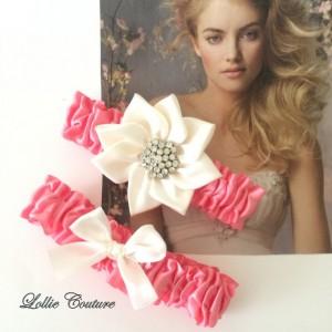Bride Garter Flower Coral Ivory Wedding Garters Ivory Garters