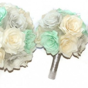 Bridal bouquet, Mint green, silver and ivory elegant paper Rose bouquet, Can be made in any colors, Keepsake toss bouquet,Bridesmaid bouquet