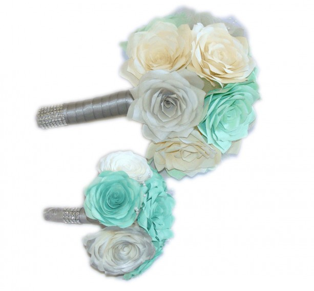 Bridal bouquet, Mint green, silver and ivory elegant paper Rose b ...