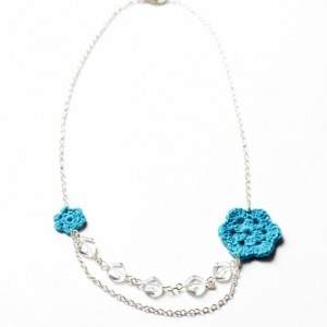 Blue Flower Crochet Necklace
