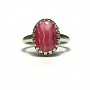 Rhodochrosite Ring, Gallery Ring, Healing Ring, Cocktail Ring, Stackable Ring, Gemstone Ring, Promise Ring, Engagement Ring, Solitaire Ring