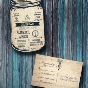 Custom Personalized Mason Jar Wedding Invitation with Response Card ANY COLOR Country Wedding Invitations