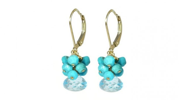 Blue Topaz & Sleeping Beauty Turquoise Cluster, Leverback Earrings, Gemstone Earrings, Topaz Earrings, Turquoise Earrings, Healing Earrings