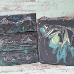 Dark Blue Scented Aloe Vera Soap with Activated Bamboo Charcoal