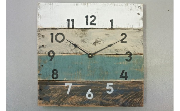 Coastal Chic Reclaimed wood clock in teal beach house style