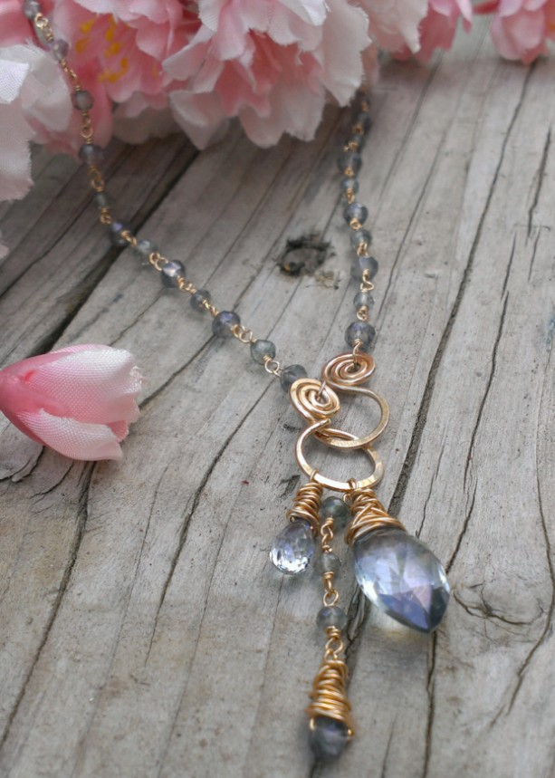 Blue Quartz & Gold-Filled Link Necklace with Gemstone Charms and Hanforged Front Clasp