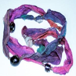 Sari Silk Bohemian Chic Gypsy Chic Wrap Bracelet Jewelry