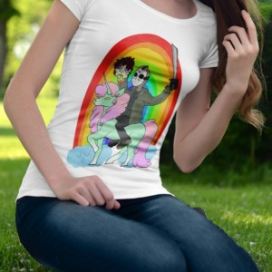 Women's Jason friday the 13th unicorn rainbow white shirt