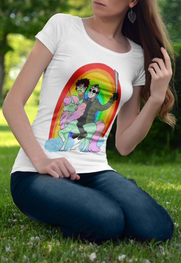 Women's Jason friday the 13th unicorn rainbow white shirt