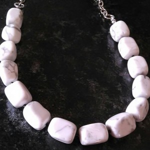 White stone necklace with silver chain, 9 inches long
