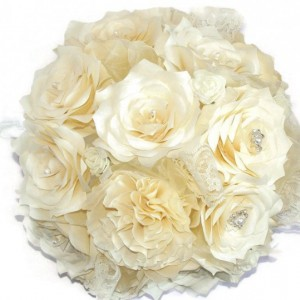 Lace and pearl ivory paper rose and carnation Bridal bouquet, Will be made in colors of your choice, Shabby chic bouquet, Throw bouquet