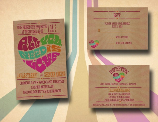 Custom Retro Wedding Invitations With Rsvp Poster All You Need Is Love