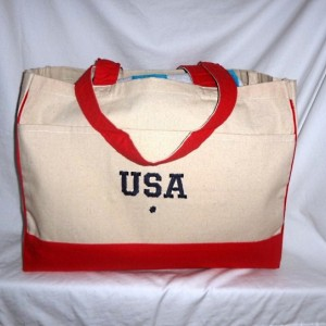 Back to School Olympic USA Tote Bag ~ Beach Bag Extra Large w/ Embroidery (Both Sides)