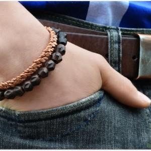 Bold Copper Helix Mens Cuff Bracelet