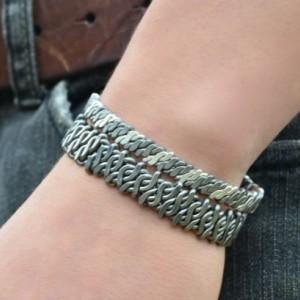 Classic Silver and Niobium Helix Luxury Mens Cuff Bracelet