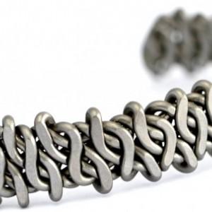 Bold Gunmetal Mens Cuff Bracelet