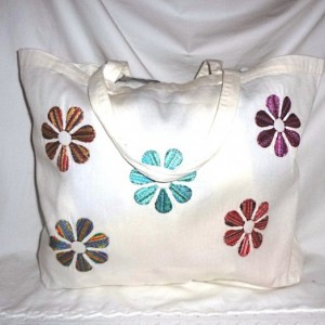 School Hippie Flower Power Book Bag ~ Tote Bag with Colorful Embroidery (Both Sides)