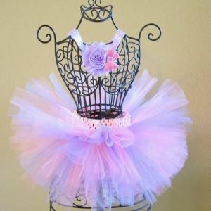 Birthday Tutu Set, Pink and Purple Tutu, Baby Tutu, Purple Flower Headband, Infant Tutu, Toddler Tutu, Newborn Tutu, Headband Set