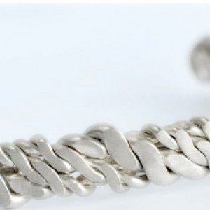 Sterling Silver Helix Luxury Men's Cuff Bracelet