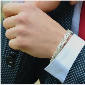 Sterling Silver Helix Luxury Men's Cuff Bracelet