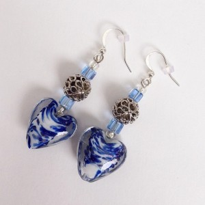 Heart Shape Beaded Drop Earrings, Blue & White Bead Dangle Earrings, Casual Love Valentines Wedding Earings
