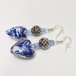 Heart Shape Beaded Drop Earrings, Blue & White Bead Dangle Earrings, Casual Love Valentines Wedding Earings