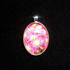 Pink Sunflower Silver Pendant