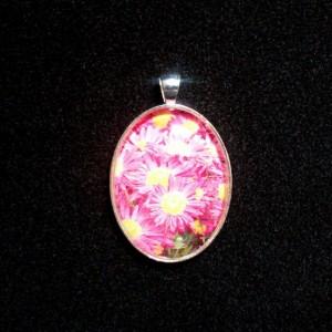 Pink Sunflower Silver Pendant