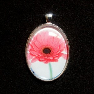Pink Daisy Silver Pendant