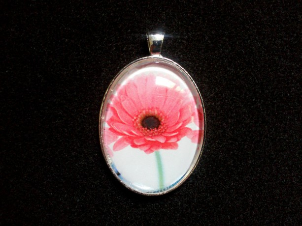 Pink Daisy Silver Pendant