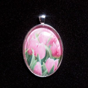 Pink Rose Silver Pendant