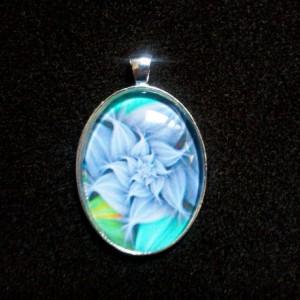 Purple Fractal Flower Silver Pendant