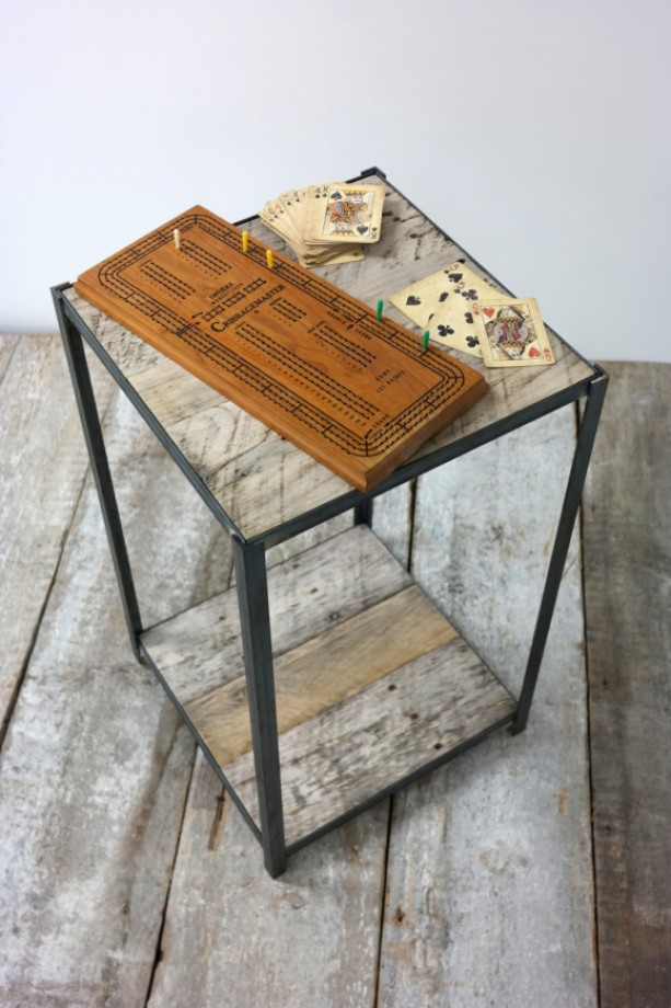 Reclaimed Pallet Wood and Steel Side Table Natural Wood & Steel